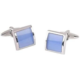 David Van Hagen Square Cats Eye Cufflinks - Silver/Blue