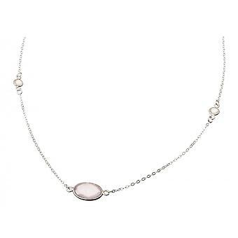Gemshine - ladies - necklace - 925 Silver - Rose Quartz - Moonstone - Pink - White - 45 cm