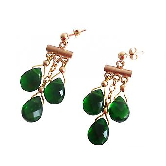 Gemshine - ladies - earrings - chandelier - gold plated - tourmaline quartz - dripping - faceted 4 cm - Green-