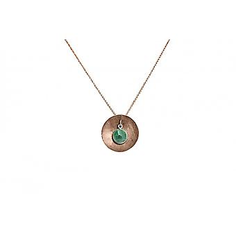 Ladies - necklace - gold plated pendant - 925 Silver - Rose - Bowl - emerald - green - 45 cm