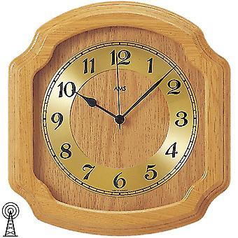 modern rustic radio controlled wall clock wall clock radio solid wood oak bright mineral glass