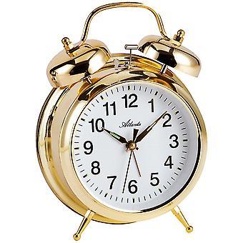 Ностальгия будильник механический двойной Белл будильник металл золото