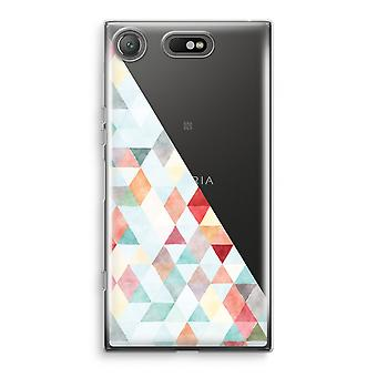 Sony Xperia XZ1 Compact Transparant Case - Coloured triangles pastel