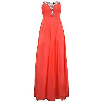 Ladies Strapless Jewel Sequin Chiffon Pleated Formal Prom Bridesmaid Maxi Dress