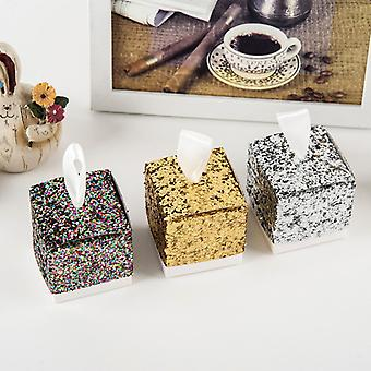 TRIXES Rainbow Glitter Favour Boxes with Ribbon Pack of 50 Sweets and Gifts