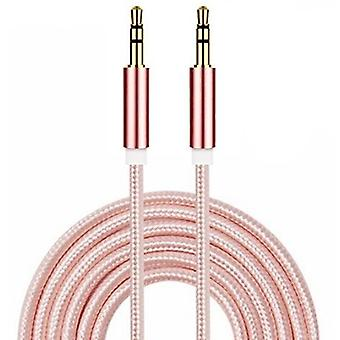 ONX3 (Rose Gold) Gold Plated Nylon Material Braided 3.5mm Jack To Jack Connection Aux Auxiliary Audio Cable [ 2 METER ] For BLU Vivo 8