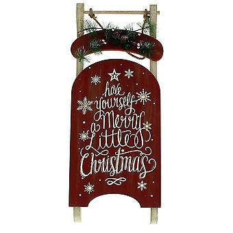 Festive Productions 60cm Battery Operated Lit Wall Hanging Sledge Christmas Decoration