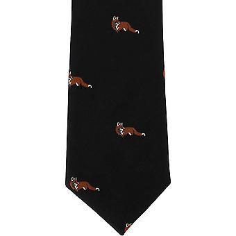 Michelsons of London Fox Silk Tie - Black