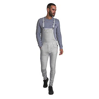 Mens Super Skinny Biker Dungarees - Off White Denim Overalls with Abrasions and