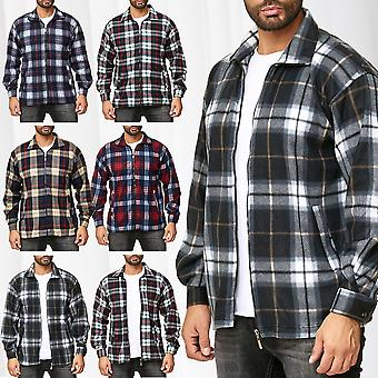 Men's Lumberjacket Checked Thermo Plain Shirt Sweat Shirt Jacket Flannel Fleece