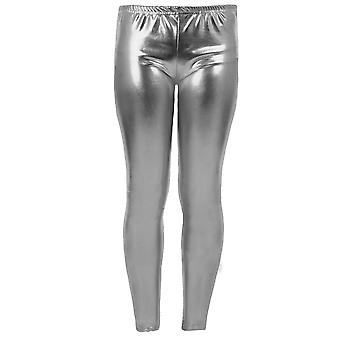 Girls Kid's Metallic Shiny Children's Wet Look Footless Party Disco Pants Leggings