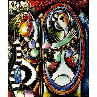 Abstract Olje Maleri på lerret, 50 x 60 cm