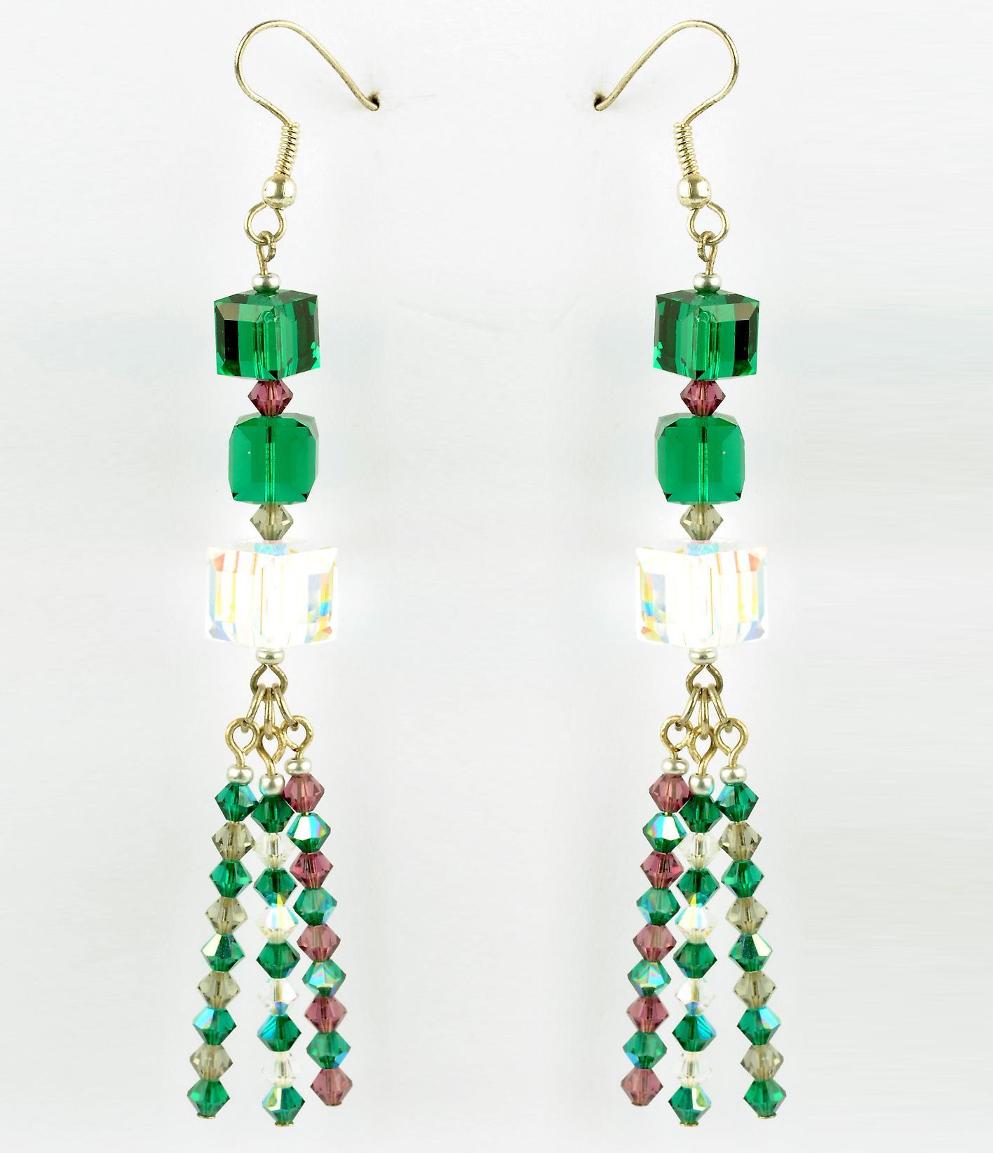 Waooh - smycken - WJ0779 - örhängen med strass Swarovski grön vit lila - mount silver