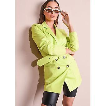 Neon Gürtel Double Breasted Blazer Minikleid grün