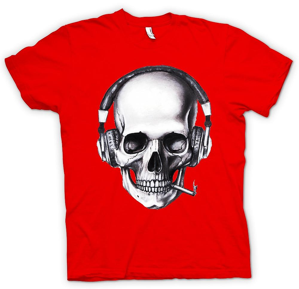 Mens t-shirt-teschio DJ cuffie
