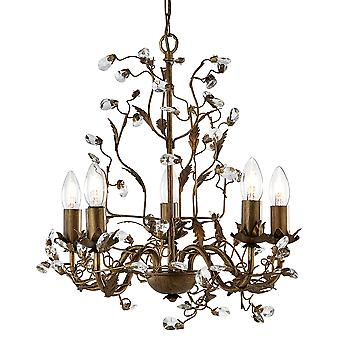Searchlight 2495-5BR Almandite 5 Light Chandelier Crystal Droplets