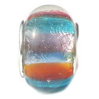 TOC BEADZ Pink-Orange-Blue Foil 8mm Glass Slide-on Bead