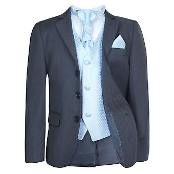 Boys Grey & Blue Wedding Cravat Suit Set