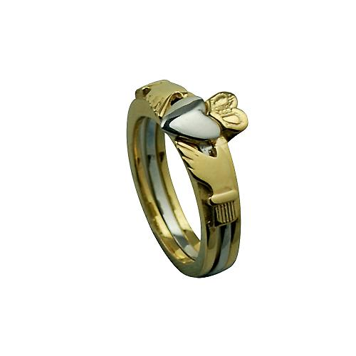 9ct Gold 15mm 3 piece Claddagh Ring