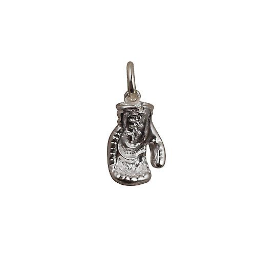 Silver 14x11mm solid Boxing Glove charm
