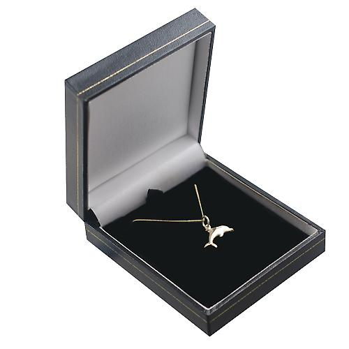 9ct Gold 9x19mm leaping Dolphin Pendant with a curb Chain 16 inches Only Suitable for Children