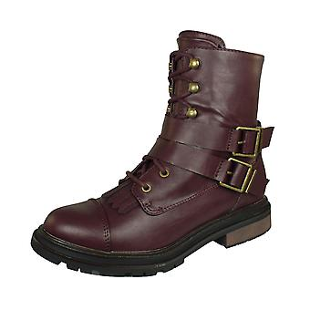Rocket Dog Lacie Garage Womens Combat Boots - Burgundy