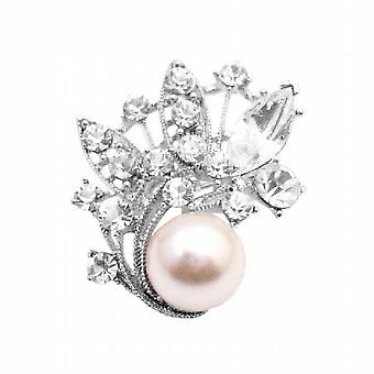 Ivory Pearls w/ Clear Crystals Employee Christmas Holiday Gift Brooch