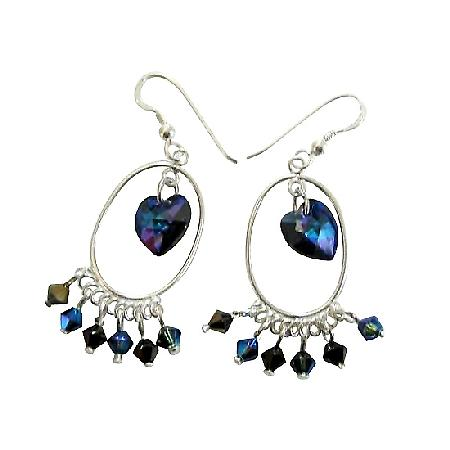 Swarovski Morion AB 2X Crystal & AB Dorado Crystal Sterling Earrings