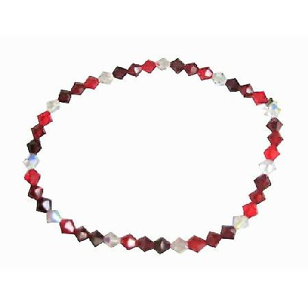 Swarovski Siam Red Garnet Clear Crystals Stretchable Bracelet