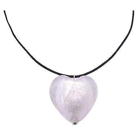 White Murano Glass Heart Pendant Under $5 Necklace Black Chord Jewelry
