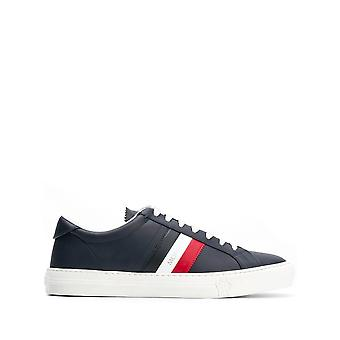 Moncler New Monaco Blue Leather Sneakers