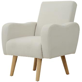 HOMCOM Linen Nordic Armchair Sofa Chair Solid Wood Living Room