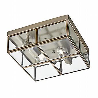 Rincer 2 boîte de finition laiton Antique clair avec verre clair