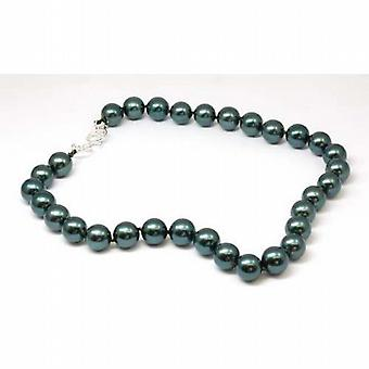 Peace of Mind Viridian Green Simulated Pearl Necklace 18