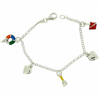 TOC Girls Sterling Silver Sea-Side & Heart Charms Bracelet 6