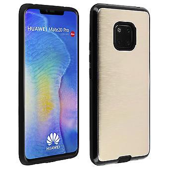 Huawei Mate 20 Pro skyddande mjukt silikon fodral aluminium förstärkta kanter, guld