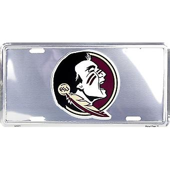 Florida State Seminoles NCAA Silver Mirror License Plate