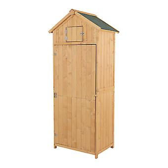 Outsunny Pine,Cedarwood Outdoor Garden Shed Storage Room Tool House Apex Roof w/ Window -Burlywood
