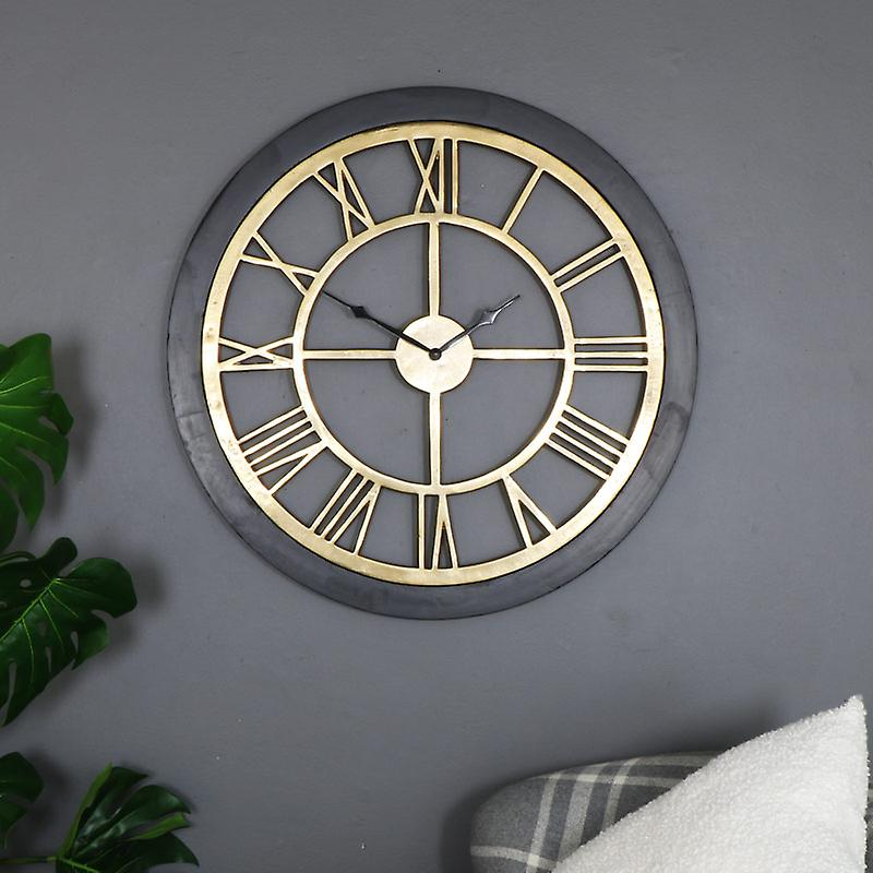 grand Rustic Brass & bois Skeleton Wall Clock