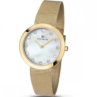 Accurist Ladies Round Stone Set Mother Of Pearl Dial Gold Bracelet Watch