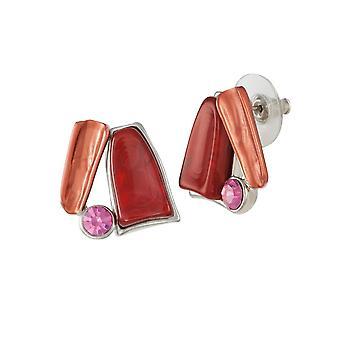 Eternal Collection Panama Red Multi Enamel Silver Tone Stud Pierced Earrings
