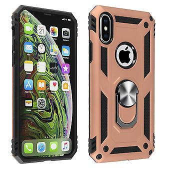 Apple iPhone XS Max Case Bi Material Rigid Soft Magnetic Ring Stand Rose gold