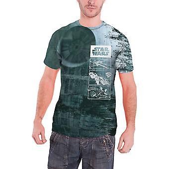 Star Wars T Shirt Mens Death Star nuovo ufficiale tutto stampa slim fit sub tintura