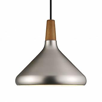 1 Light Medium Dome Ceiling Pendant Brushed Steel, Oiled Walnut