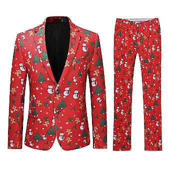 Allthemen Mens Elk -Christmas Trees Printed Suit deux pièces (Blazer -Pantalon)