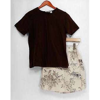 Denim & Co. Set Stretch T-shirt & Stretch Skort Classic Brown A10855