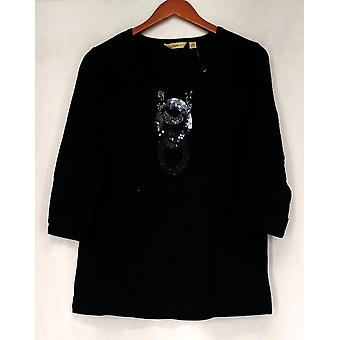 Motto 3/4 Sleeve Embellished Pull Over Top Deep Black Womens