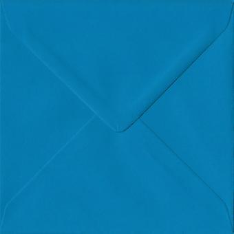 Kingfisher Blue Gummed 155mm Square Coloured Blue Envelopes. 100gsm FSC Sustainable Paper. 155mm x 155mm. Banker Style Envelope.