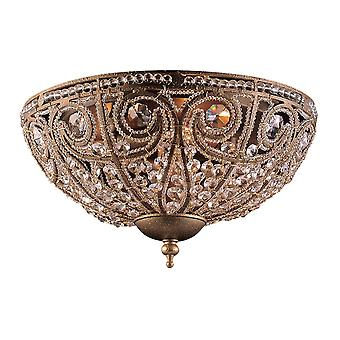 Elizabethan 3-light flush mount in dark bronze with crystal elk lighting