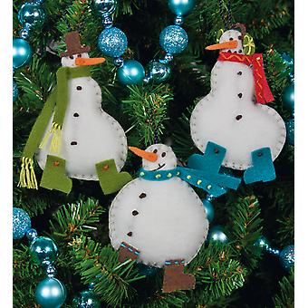 Simple Snowmen Ornaments Felt Applique Kit 3